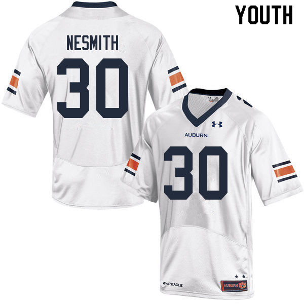 Youth #30 Tommy Nesmith Auburn Tigers College Football Jerseys Sale-White