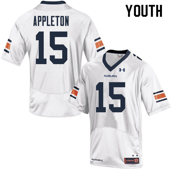 Youth Auburn Tigers #15 Wil Appleton College Football Jerseys Sale-White