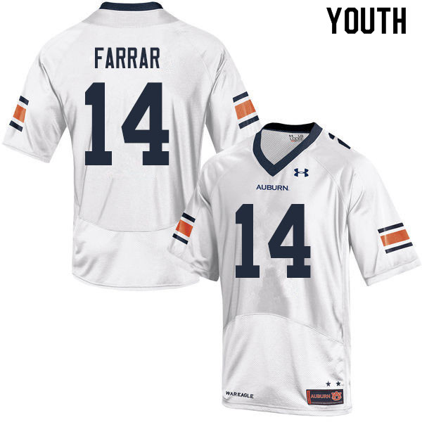 Youth #14 Zach Farrar Auburn Tigers College Football Jerseys Sale-White